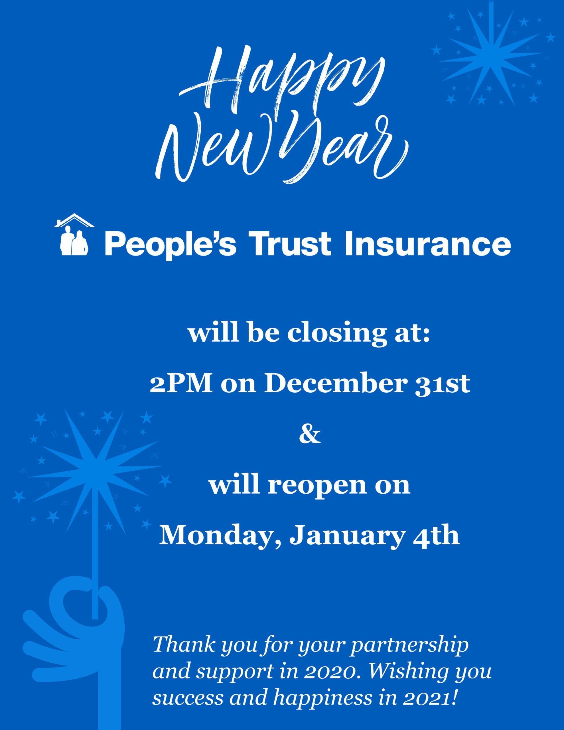 NYE Closure | People's Trust Insurance